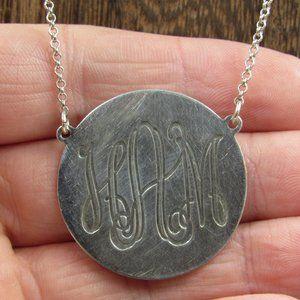 """Vintage 19"""" Sterling Engraved HAM Initial Necklace"""
